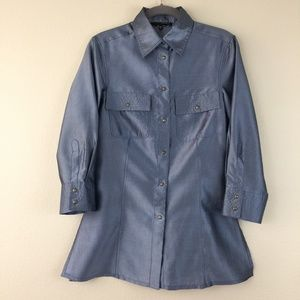 Les Copains silk dupioni top jacket slate blue 42